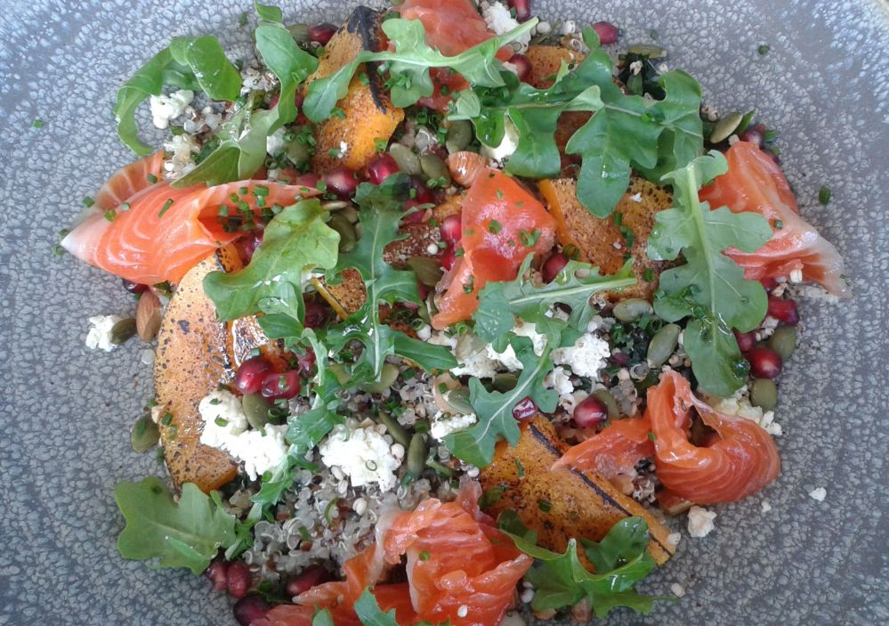 Kale and Quinoa Salad with Cured Trout